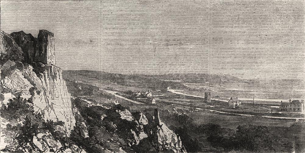 Associate Product St. Brelade's bay, Jersey. Channel Islands, antique print, 1862