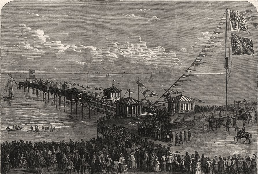Associate Product Opening of the new pier at Blackpool, Lancashire: the procession returning, 1863