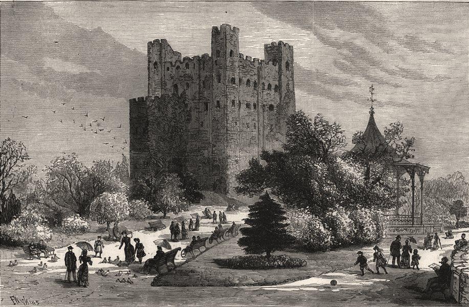 Associate Product Rochester Castle and grounds as a public park. Kent, antique print, 1883