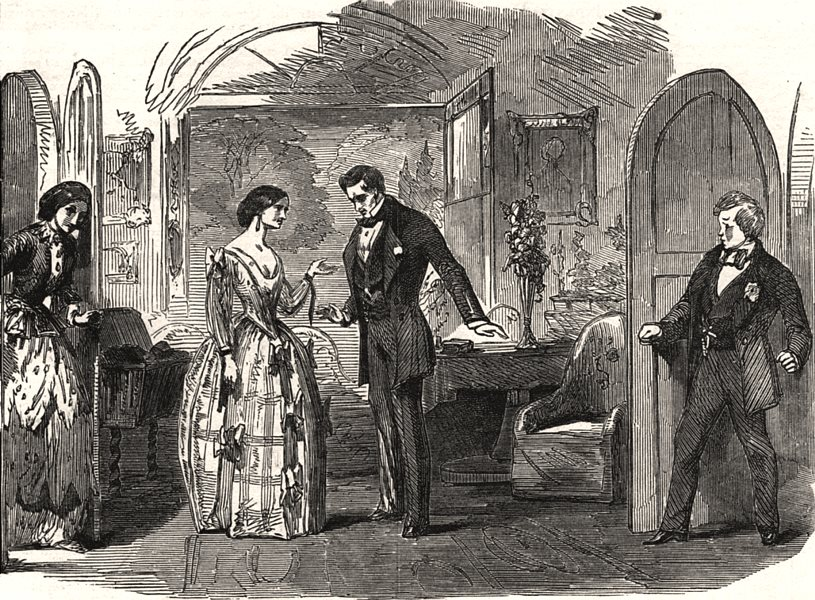 """Associate Product Scene from """"A pretty piece of business"""" at the Haymarket Theatre. London, 1853"""