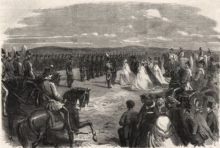 Norfolk volunteer review Mousehold Heath Lady Suffield prizegiving Rifles 1863