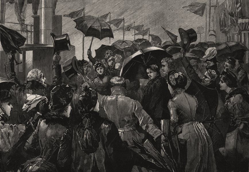 Associate Product Queen Victoria boarding the Mersey steam ferry boat Claughton, old print, 1886