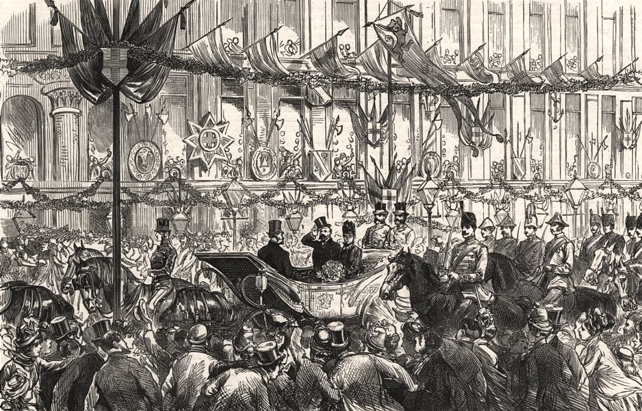 Associate Product The Prince & Princess Of Wales at Manchester: passing up Market Street, 1887