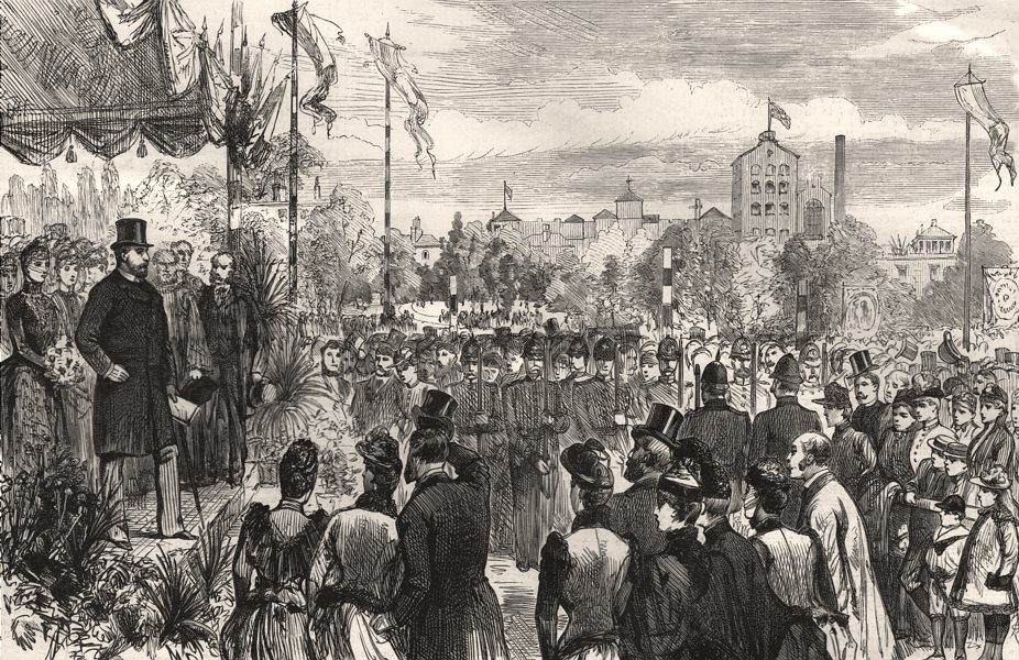 Associate Product Opening of Vauxhall Park, Lambeth by the Prince & Princess of Wales, print, 1890