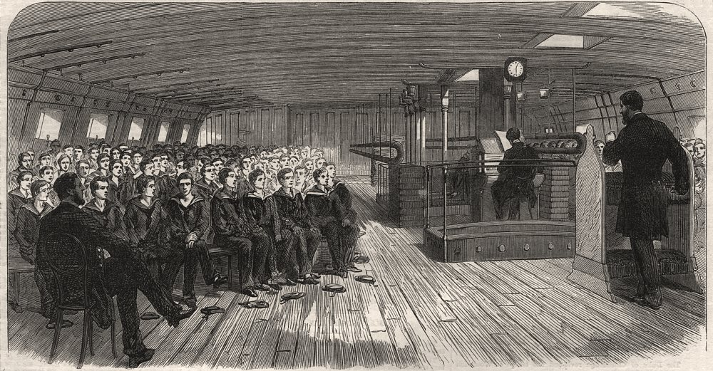 Associate Product Divine Service on board the training ship Indefatigable at Liverpool, 1866