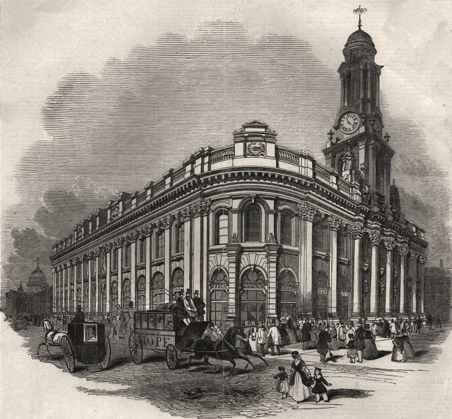 Associate Product The new Royal Exchange - the east and south fronts. London, antique print, 1844
