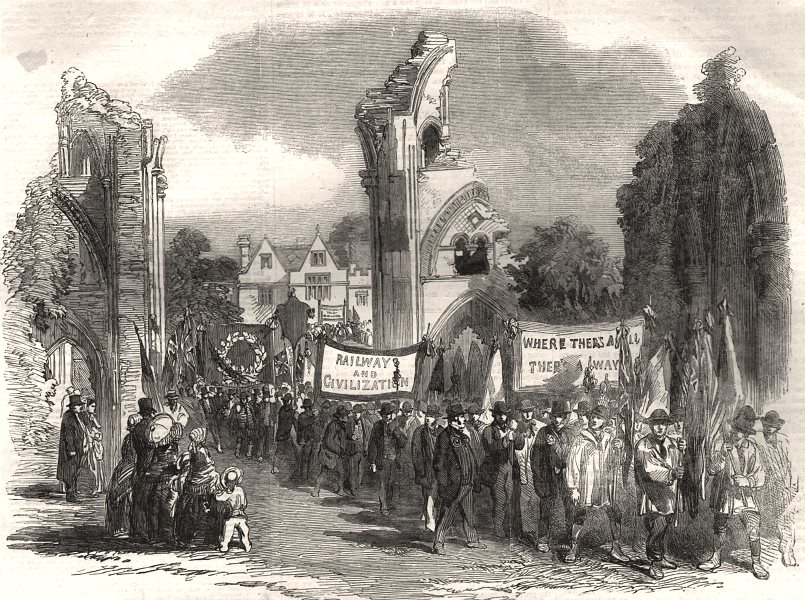 Associate Product Central Somerset Railway opening: parade at Glastonbury Abbey, old print, 1854