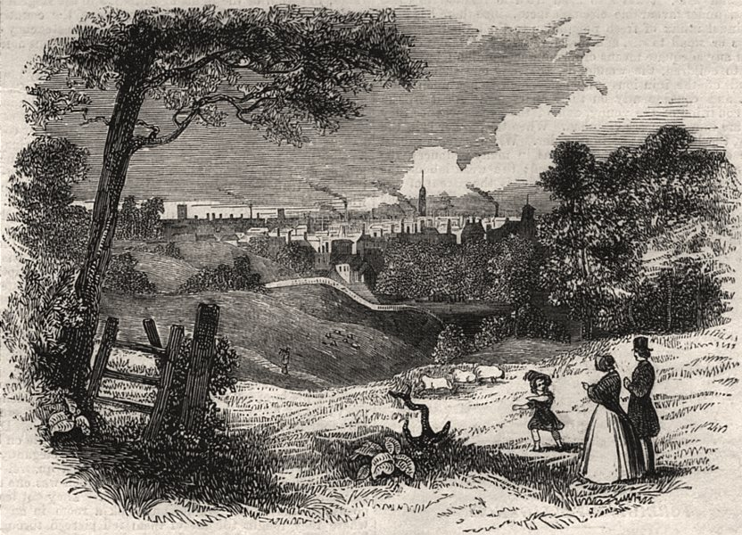 Associate Product View of Manchester. Lancashire, antique print, 1842