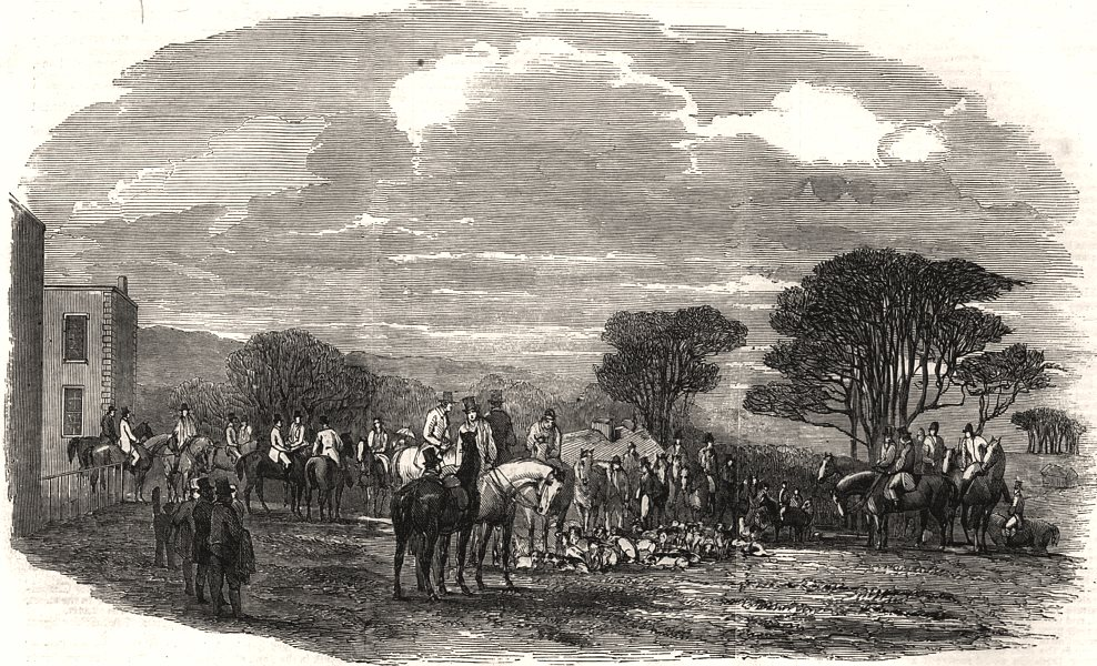 Associate Product The meet at Croxton Park. Leicestershire, antique print, 1853