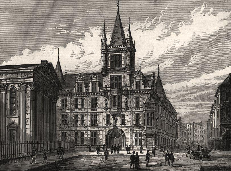 Associate Product New buildings, Caius College, Cambridge. Cambridgeshire, antique print, 1876