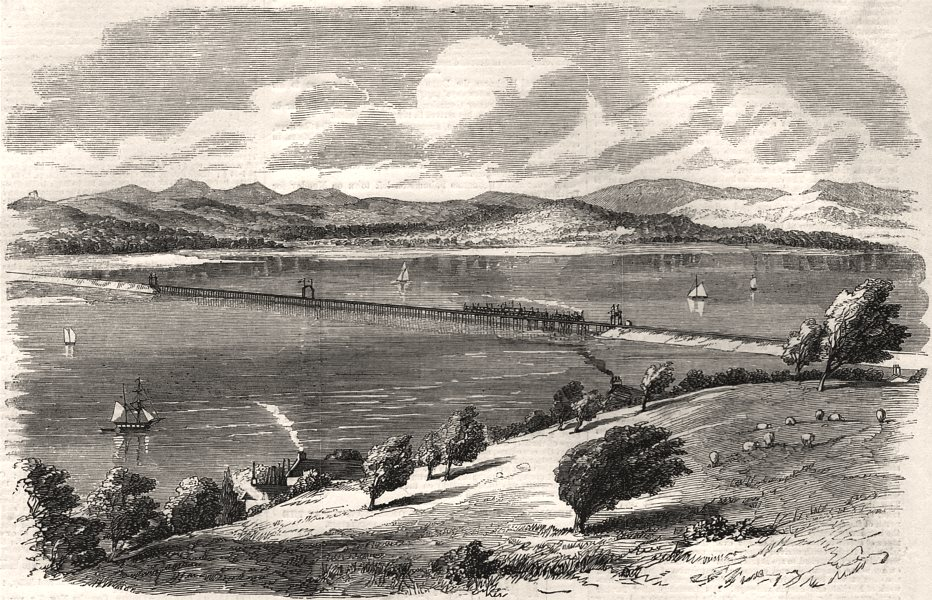 Associate Product Opening the Ulverstone & Lancaster Railway: the Kent viaduct. Lancashire, 1857
