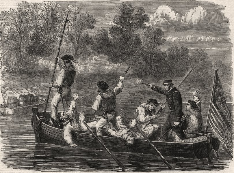 Associate Product American Civil War: Confederates trapping boat's crew of the Potomac fleet, 1861