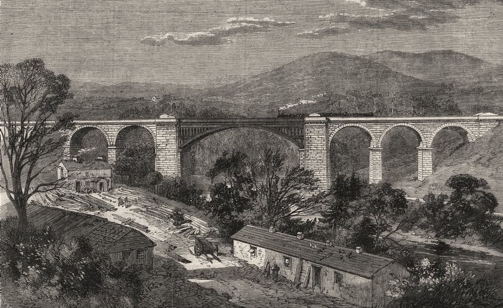 Associate Product Viaduct on the Lime Branch of the Lancaster & Carlisle Railway. Lancashire, 1861
