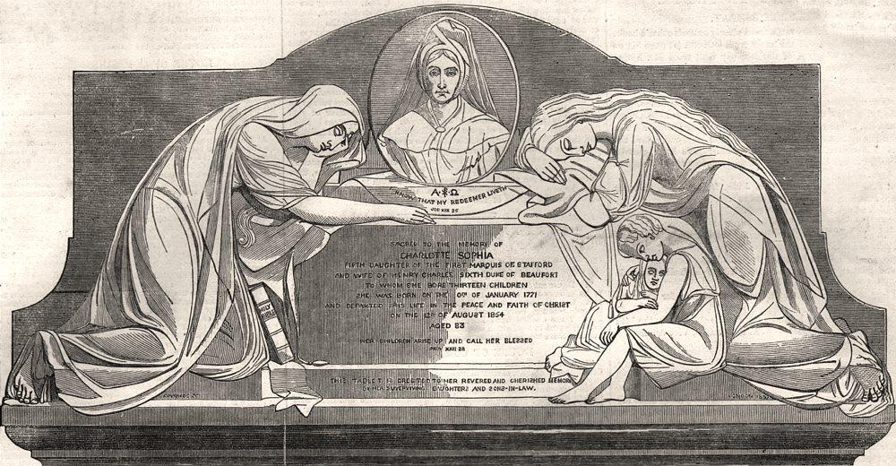 Associate Product Duchess Of Beaufort memorial in Badminton Church. Gloucestershire, print, 1858