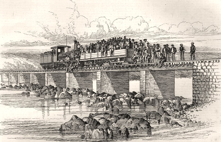 Associate Product The first railway engine crossing the Vaal River in South Africa, print, 1890
