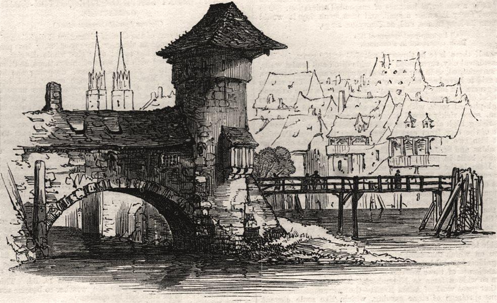 Associate Product Old bridge, Nuremberg. Germany, antique print, 1864