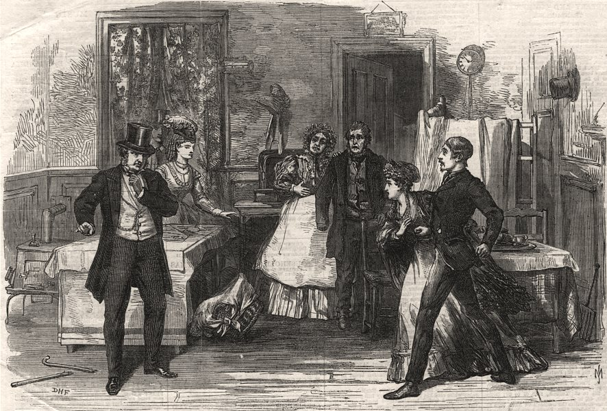 """Associate Product Scene from """"Not such a fool as he Looks"""" at the Globe Theatre. London, 1869"""