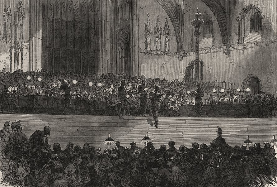 Associate Product West London Rifle Volunteers prize giving in Westminster Hall, old print, 1866