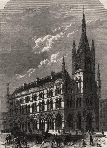 Associate Product The new exchange, Bradford, Yorkshire, antique print, 1867