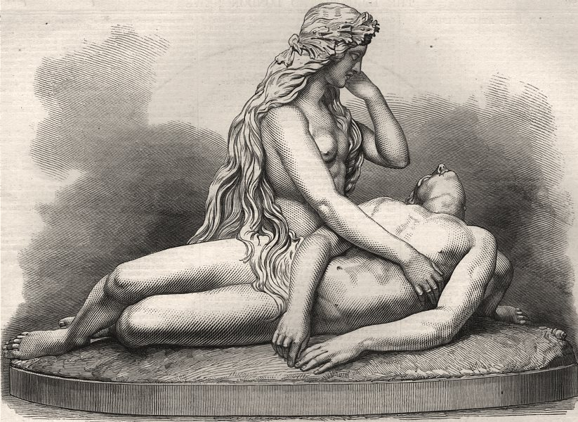 """Associate Product """"The siren and the drowned leander"""". Classics, antique print, 1872"""