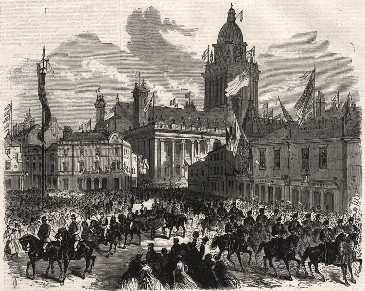 Associate Product Prince of Wales passing Great George Street, Leeds. Yorkshire, old print, 1868