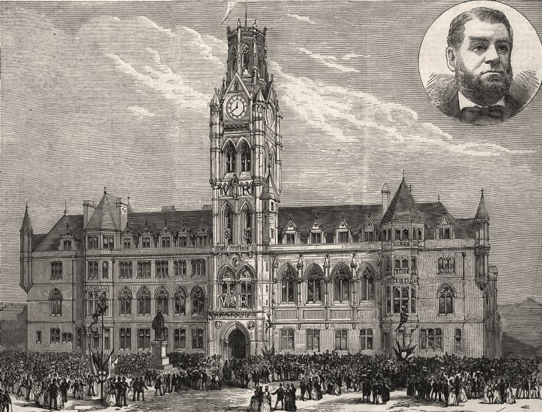 Associate Product New town hall at Barrow-in-Furness, North Lancashire. Cumbria, old print, 1887