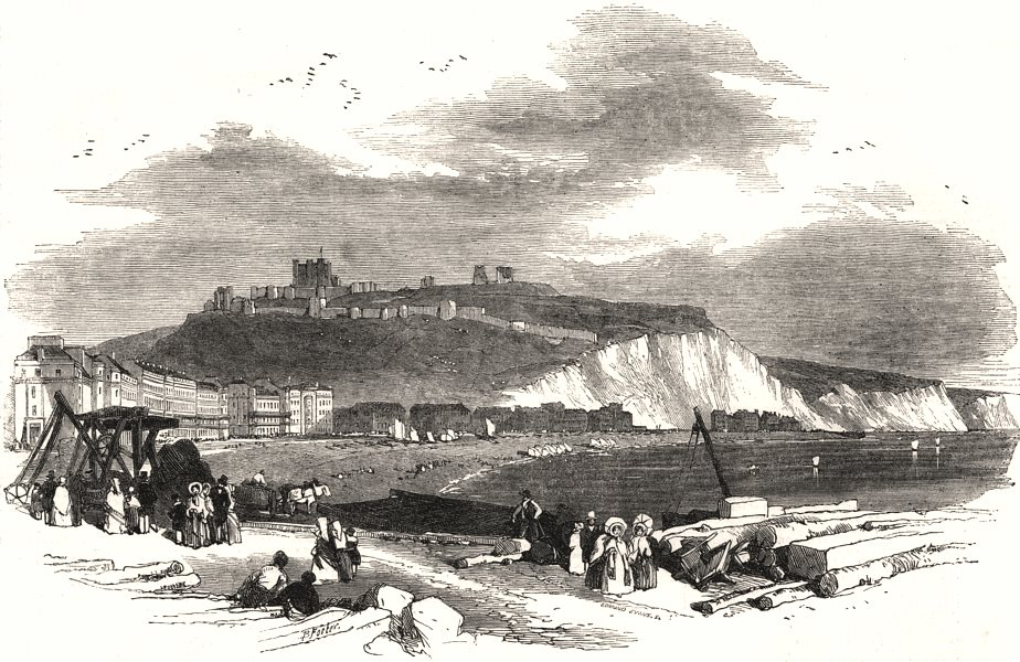 Associate Product Watering places of England - Dover: the town and heights. Kent, old print, 1850