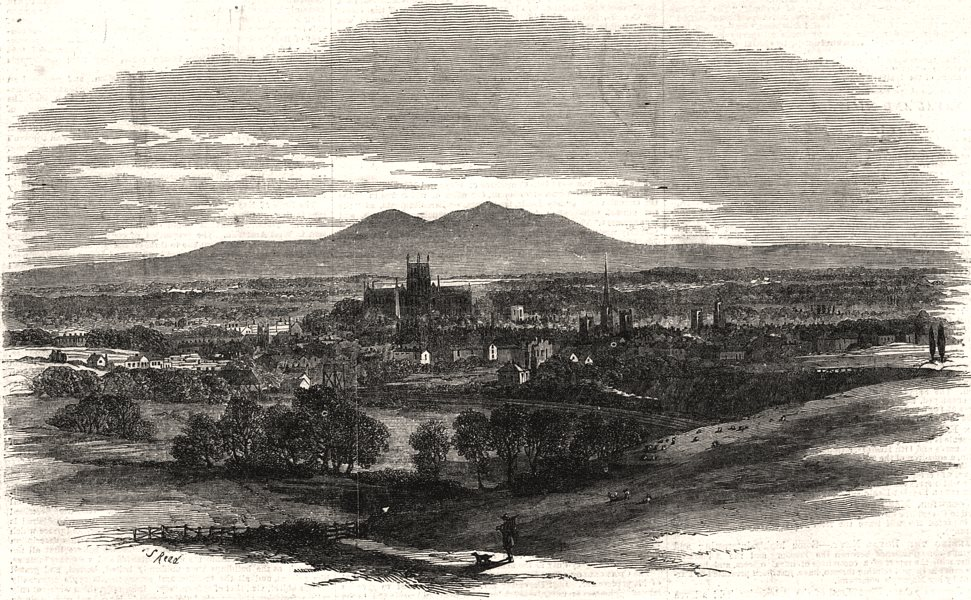 Associate Product The city of Worcester, from the Oxford, Worcester & Wolverhampton Railway, 1853