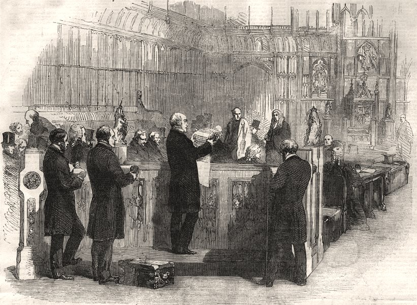 Associate Product Life peerages. Assistant record keeper reading patent House of Lords bar, 1856