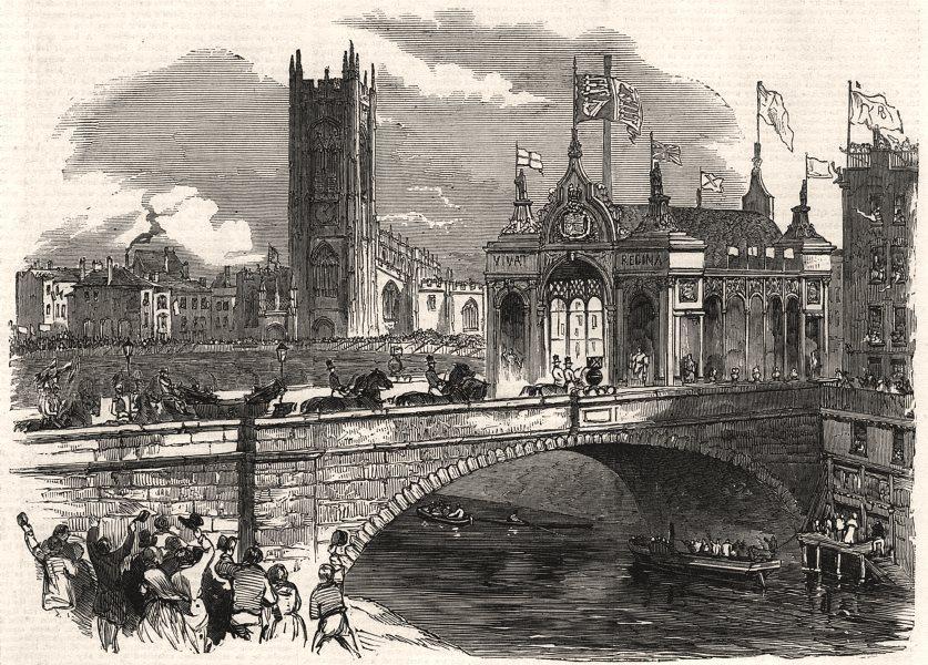 Associate Product The arch at Victoria Bridge over the Irwell. Lancashire, antique print, 1851