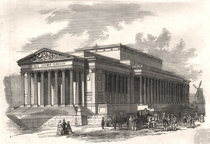 Associate Product St. George's Hall, Liverpool - principal front, antique print, 1851