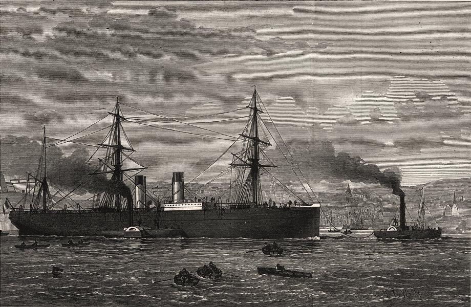 Associate Product French Transatlantic Co's steamship Amerique towed into Plymouth. Devon, 1874