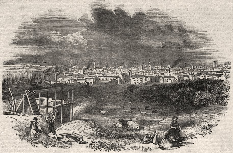 Associate Product View of Liverpool, antique print, 1843