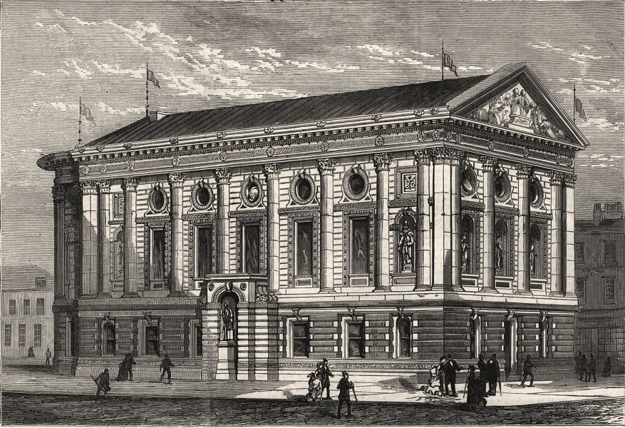 Associate Product The new townhall, Todmorden. Yorkshire, antique print, 1875