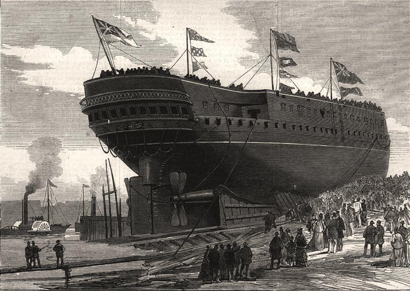 Associate Product Launch of H. M. S. Nelson at Govan, near Glasgow. Scotland, antique print, 1876