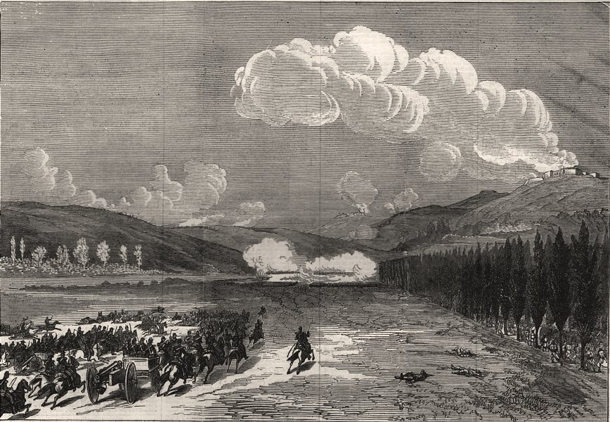 Associate Product The war: first battle near Metz, at Pange. Moselle, antique print, 1870