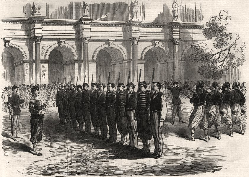 Associate Product The war: Paris recruits drilling in the Louvre, antique print, 1870