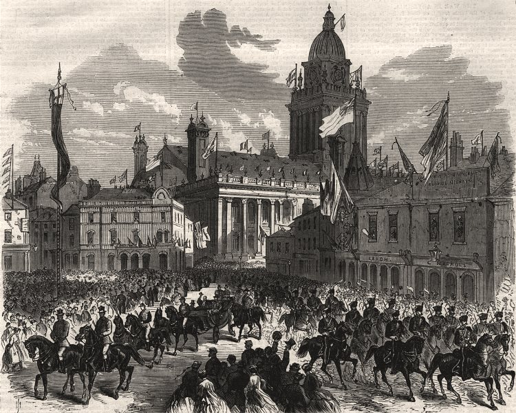 Associate Product Leeds Exhibition. Prince of Wales in Great George Street, antique print, 1868