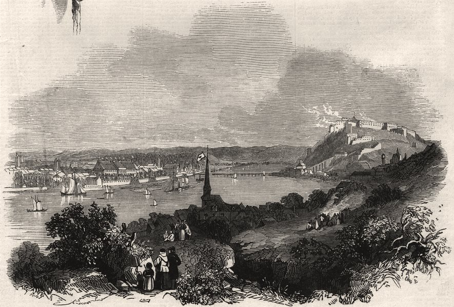 Associate Product Queen Victoria passing Koblenz. Germany, antique print, 1845