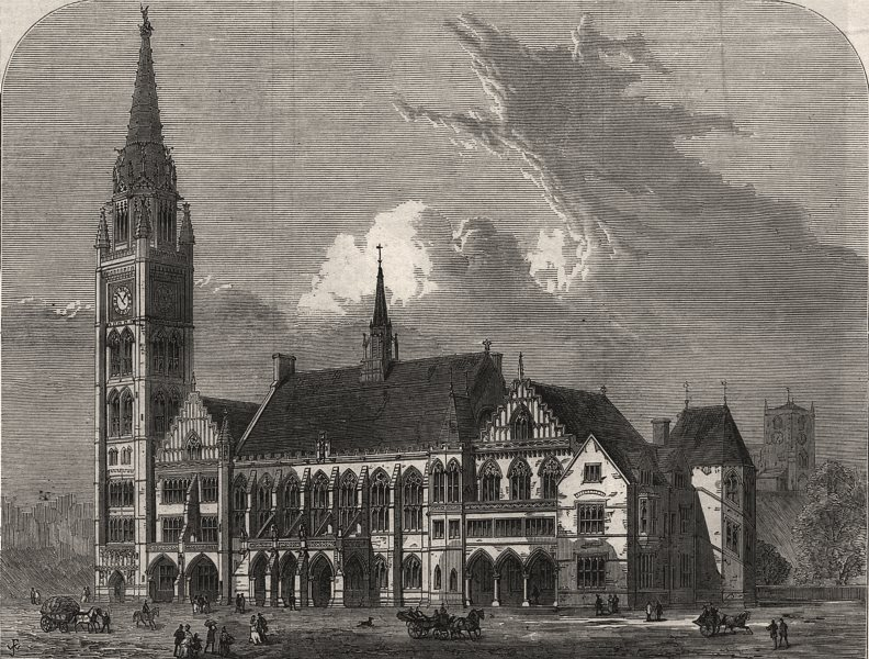 Associate Product The new townhall, Rochdale. Lancashire, antique print, 1871