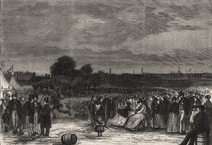 Associate Product Whitsuntide festival of work people at Norwich. Norfolk, antique print, 1869