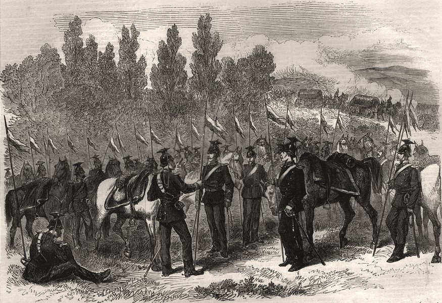 Associate Product The war: Prussian lancers during a halt. Germany, antique print, 1870