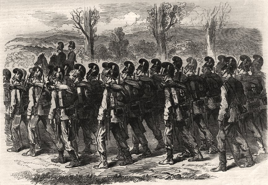 Associate Product The war: Bavarian jaegers on their march to the front. Germany, old print, 1870