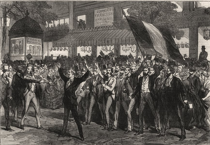 Associate Product Demonstration on the Boulevard des Italiens, Paris, antique print, 1870