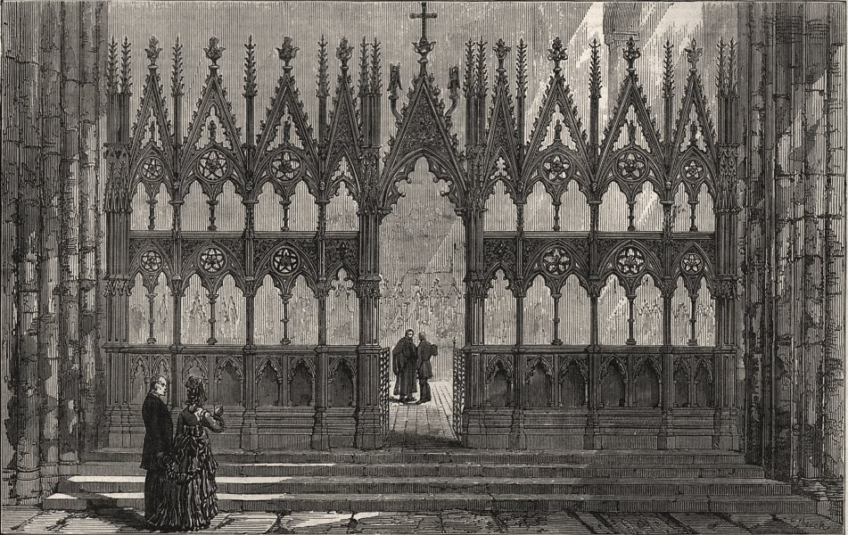 Associate Product The Wilberforce screen, Winchester cathedral. Hampshire, antique print, 1876