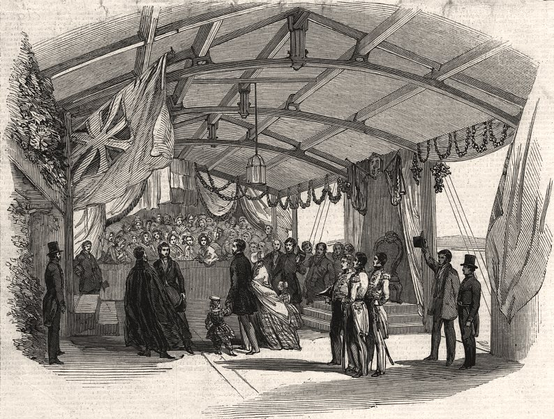 Associate Product Reception of Queen Victoria on the pier at Fleetwood. Lancashire, print, 1847