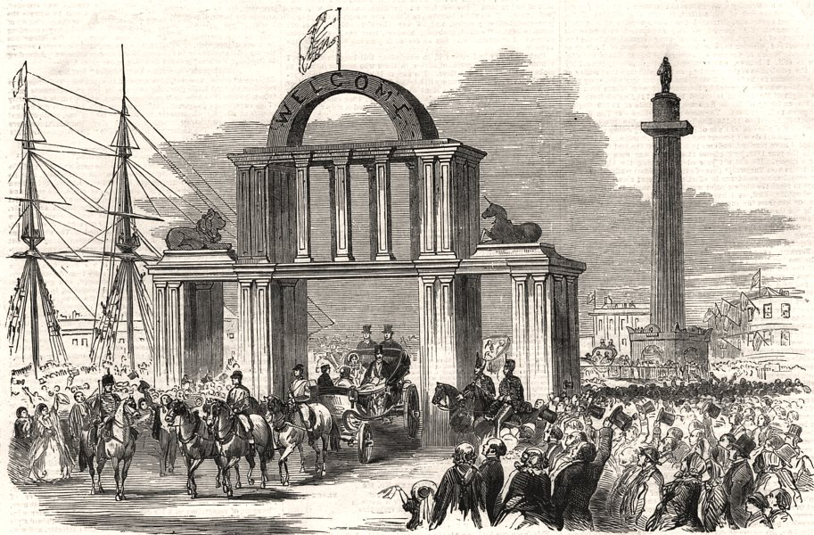 Associate Product Queen Victoria in Hull. Arch in Whitefriars at the Wilberforce Column, 1854