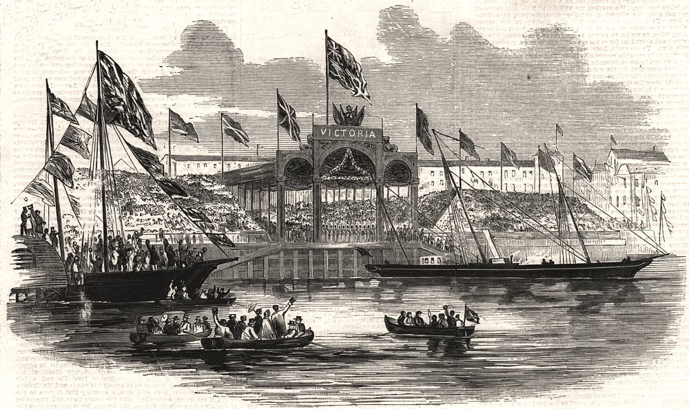 Associate Product Queen Victoria embarking At Hull. Yorkshire, antique print, 1854