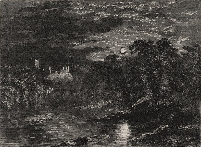 """""""Richmond Castle, Yorkshire"""" By G. Dodgson, antique print, 1862"""