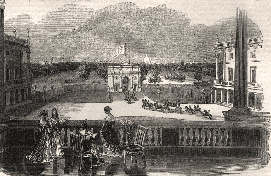 Associate Product London from Buckingham Palace, antique print, 1842
